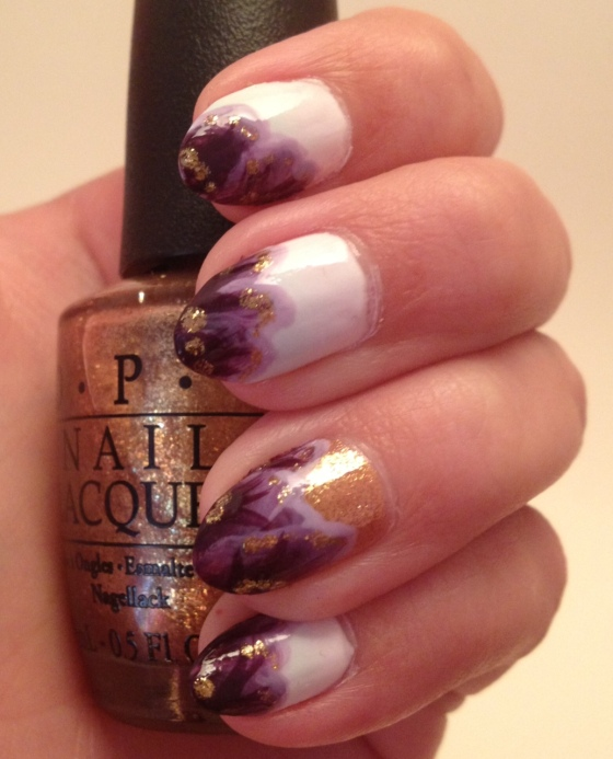 One stroke floral with gold